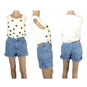 Vintage light wash high waist denim shorts